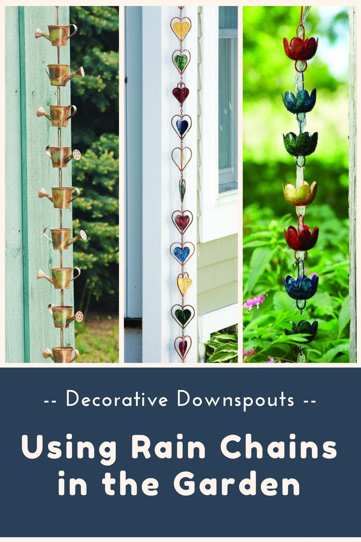 Decorative Downspouts Using Rain Chains In The Garden